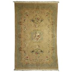 Vintage French Aubusson Style Hand Knotted Floral Rug, circa 1950