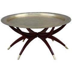 Spider Base Coffee Table with Brass Tray Top