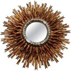1950 Sun Mirror Wood Gilted and Silvered with Doble Ray