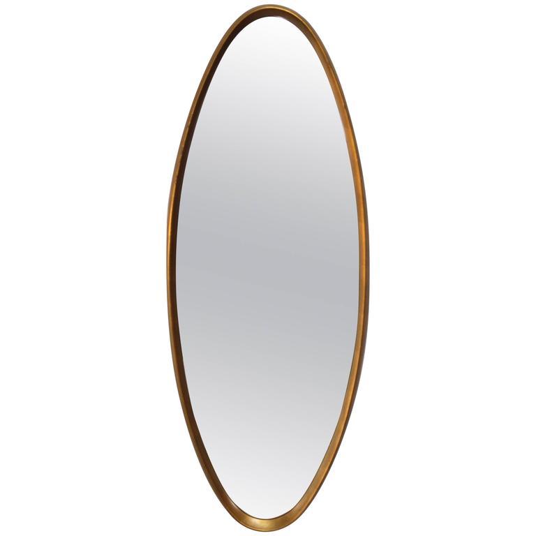 Mid Century Modern Gold Leaf Oval Mirror At 1stdibs