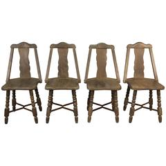 Set of Four Monterey Dining Room Chairs with Iron Cross Bars