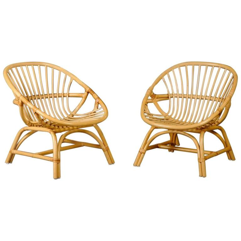 Pair of 1960s Danish Rattan Armchairs 1