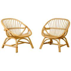 Pair of 1960s Danish Rattan Armchairs