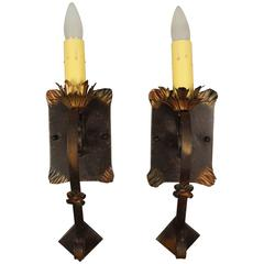 Pair of 1920s Spanish Revival Single Light Sconces