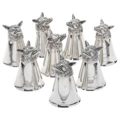 Sterling Silver Fox Head Stirrup Cups Set of Eight