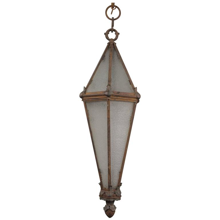 Long Pendant Lights: Very Long And Narrow Antique 1920s Pendant Light At 1stdibs