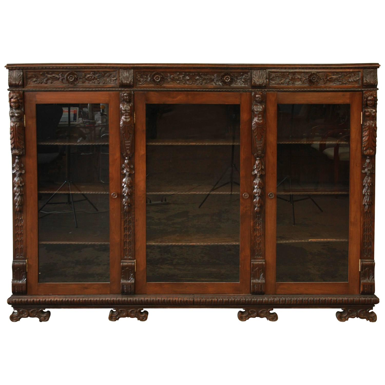 Antique Ornate Carved French Victorian Triple Bookcase - Antique French Cabinet Cupboard Dresser Bookcase Oak Carved Gothic