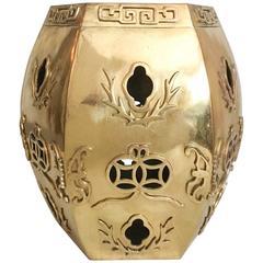 Heavy Solid Brass Asian Garden Stool