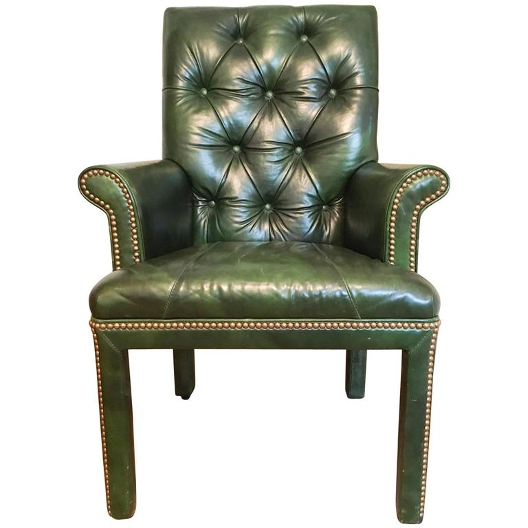 Emerald Green Leather Armchair By Michael Thomas At 1stdibs