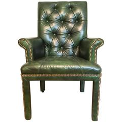 Emerald Green Leather Armchair by Michael Thomas