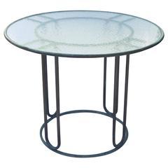 """Walter Lamb Brown Jordan Patinated Bronze 36"""" Petite Patio Table, circa 1950s"""
