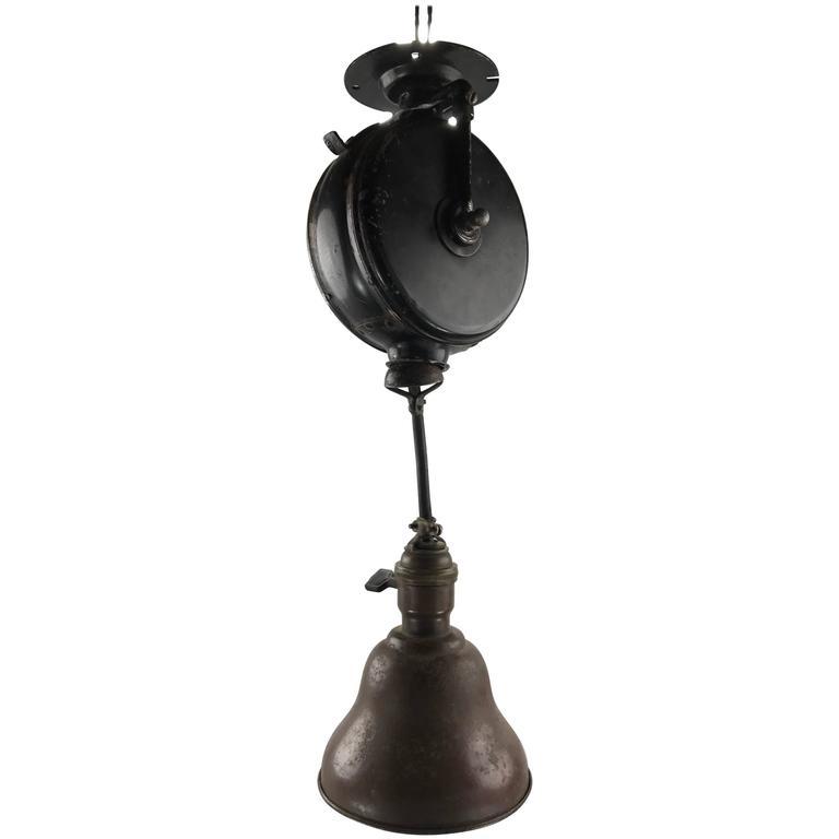 Appleton Light Vintage Industrial: Early Industrial Retractable Hanging Task Lamp By Reelite