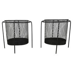 Elusive Pair of Wire Iron Modernist Waste Baskets by Maurice Ducin, circa 1953