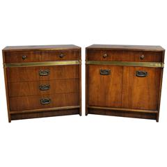 Hickory Manufacturing Co Pair of Campaign Style Chests a Vintage