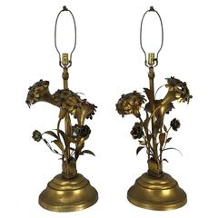Pair of Regency Modern Gold Gilt Hydrangea Themed Table Lamps, Italy