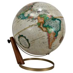Danish Modern White Replogle World Globe
