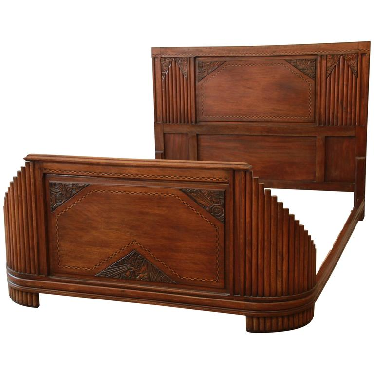 1930s french art deco carved and inlaid walnut full size bed frame at 1stdibs. Black Bedroom Furniture Sets. Home Design Ideas