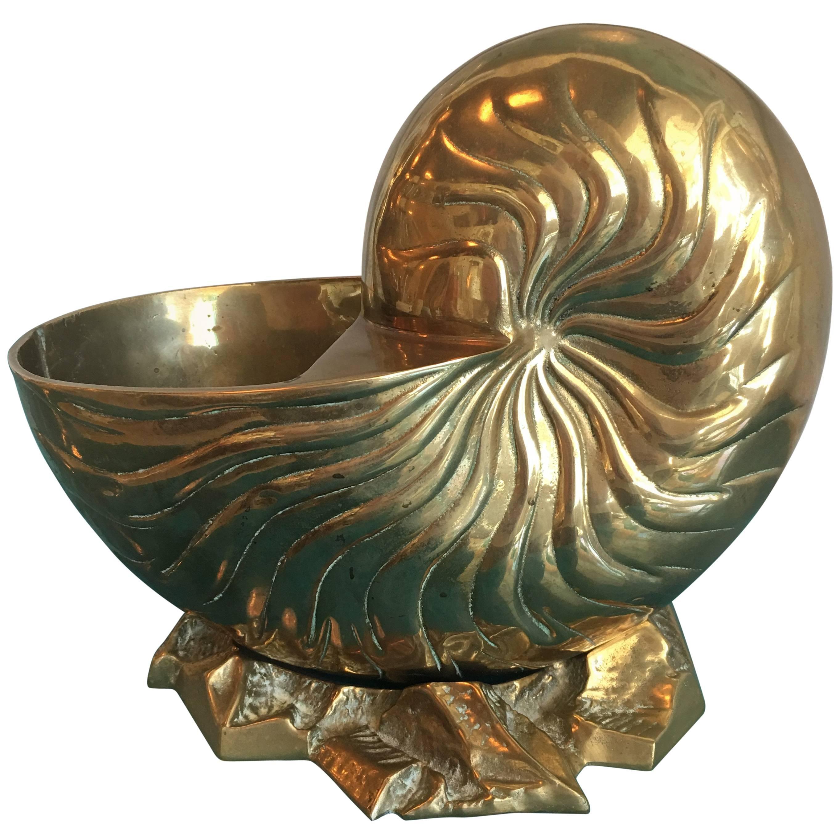 Large Brass Nautilus Planter Seashell Shell Vintage Statue Palm Beach