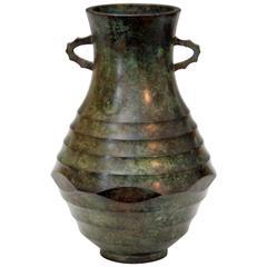 Vintage Bronze Japanese Green Patinated Faceted Verdigris Art Deco Signed Vase
