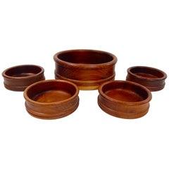 Mid-Century Teak Bowl Set