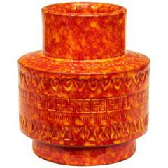 Bitossi Vintage Italian Pottery Atomic Rimini Orange Red Stovepipe Vase