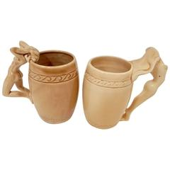 1940s Pair of Ceramic Nude Mugs by Dorothy Kindell