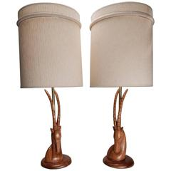 Exotic Art Deco Hand-Carved Ibex Sculpture Table Lamps