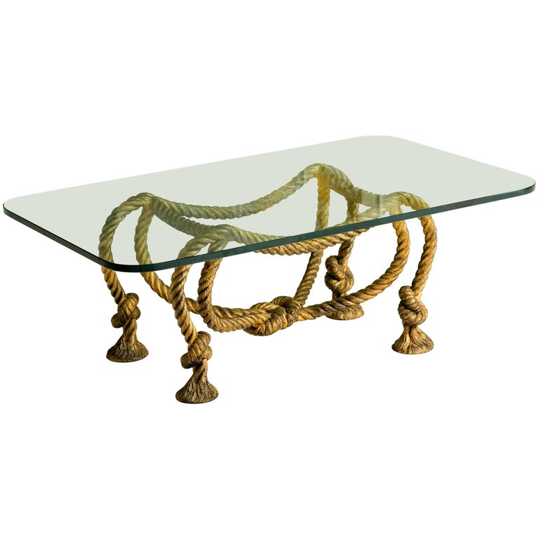 Maison Jansen Style Coffee Table with Rope and Tassel Feet  For Sale