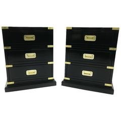 Pair of Hekman Campaign Style Ebonized Side Tables