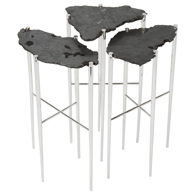 Meteorite Cocktail Tables in Silver Plated Brass by Christopher Kreiling For Sale