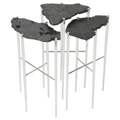 Meteorite Cocktail Tables in Silver Plated Brass