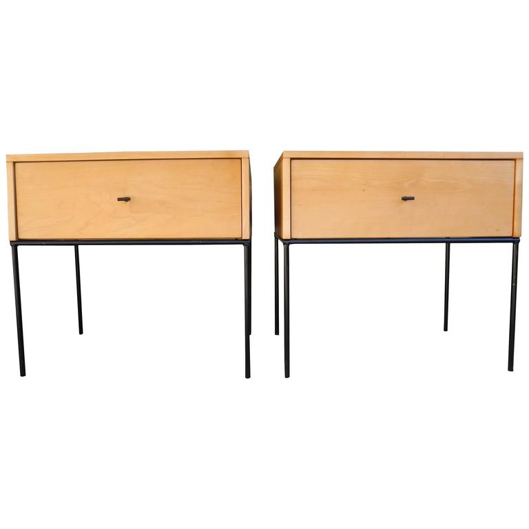 Mid-Century Modern Pair of Paul McCobb Nightstands in Maple on Black Steel Base