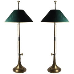 Vintage Pair of Classy Chapman Brass Trumpet Table Lamps