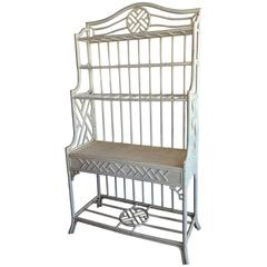 Rattan Chinese Chippendale Bakers Rack Cabinet Etagere Wicker Chinoiserie