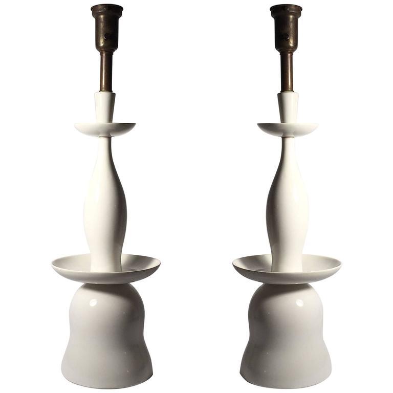 Vintage Gerald Thurston Porcelain Table Lamps for Lightolier