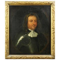 Framed Oil on Canvas Portrait of Oliver Cromwell