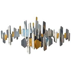 Large Mid-Century Curtis Jere Cityscape Art Sculpture in Chrome and Brass