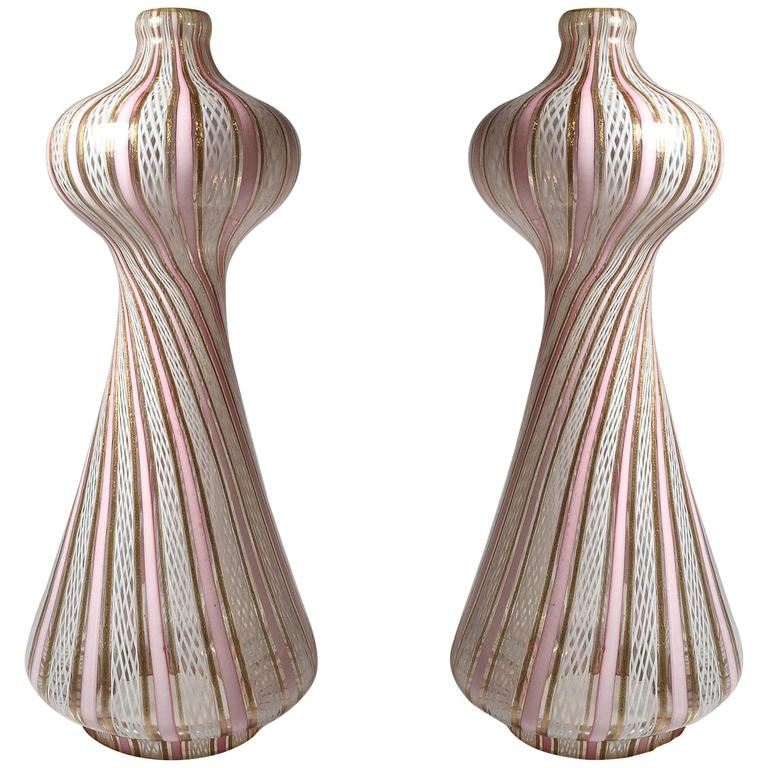 Vintage Beautiful Pink and White Murano Latticino Glass Lamps
