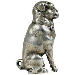 Sterling Silver Figural Salt Shaker of a Pug