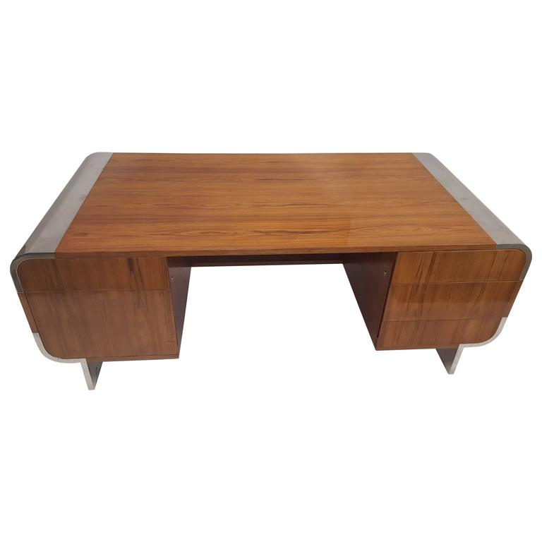 Leon Rosen Walnut Executive Desk by Pace