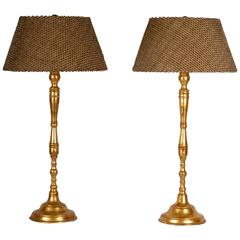 20th Century Hand-Turned Gilded Table Lamps with Custom Shades