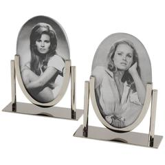 1930s French Art Deco Modernist Chrome Pair of Picture Photo Frames