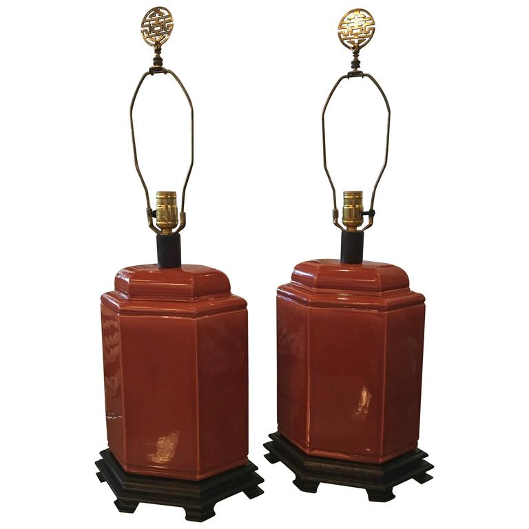 Pair of Table Lamps Vintage Orange Oriental Brass Ceramic Chinoiserie For Sale