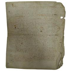 Large 16th Century French Vellum Handwriting, Manuscript