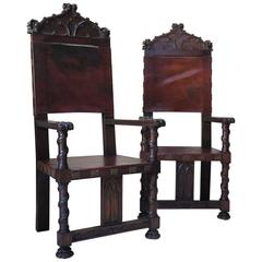 Medieval Style Hall Chairs, France, 19th Century