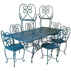 Garden Table and Eight Chairs, France, circa 1950s