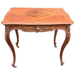 Antique Hand-Carved, Gilt and Inlaid Louis Seize Style Walnut Table on Wheels
