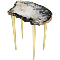 'Powers of 10' Side Table in Quartz and Solid Brass (Table A)