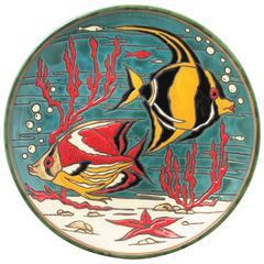 Spanish 1950s Spanish Colorful Glazed Ceramic Corals and Fishes Decorative Dish