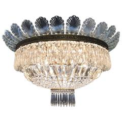 Italian Flush Mounted Crystal Basket Seven-Light Ceiling Light, circa 1970